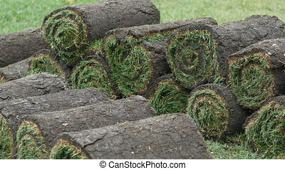 stacks of sod rolls for new lawn at the grass