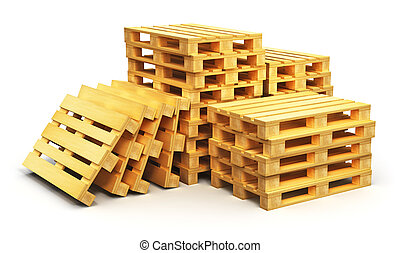 Stacks of wooden shipping pallets