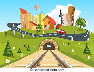 stad, återstående tid spåret, genom, järnväg, landskap