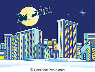stad, över, claus, jultomten