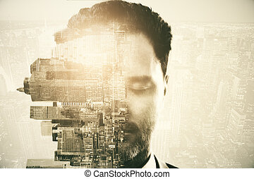 stad, abstract, achtergrond, man