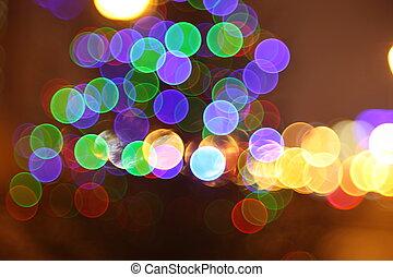 stad, abstract, flits, lichten, nacht