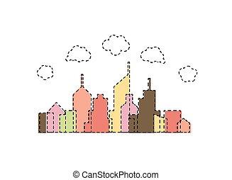stad, abstract ontwerp, spotprent