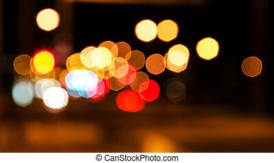 stad, abstrakt, bokeh., bakgrund, natt