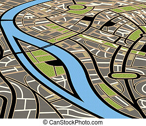 stad, abstrakt, illustration, karta