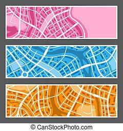 stad, abstrakt, karta, banners.