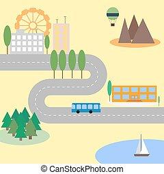 stad, abstrakt, karta