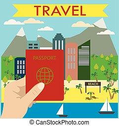stad, achtergrond, houden, hand, paspoort, strand