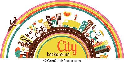 stad, achtergrond, met, iconen, en, communie