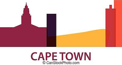 stad, afrika, illustration, horisont, vektor, udde, syd