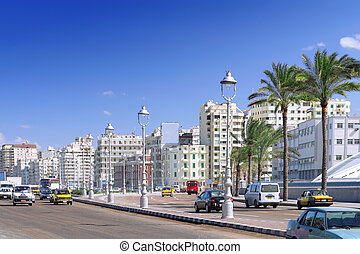 stad, alexandria, urban, egypt., synhåll