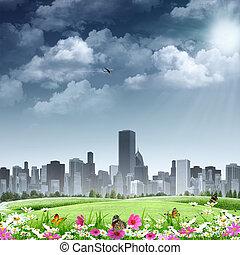 stad, als, achtergrond., abstract, natuurlijke , achtergronden