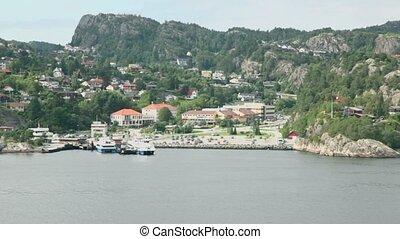 stad, ankerplaats, schepen, weinig, bos, kust, cruise, ...