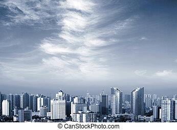 stad, antennen beskådar