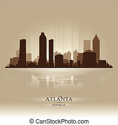 stad, atlanta, georgië, silhouette, skyline