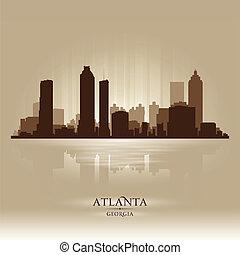 stad, atlanta, georgia, silhuett, horisont