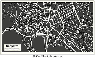 stad, australië, schets, canberra, kaart, map., retro,...