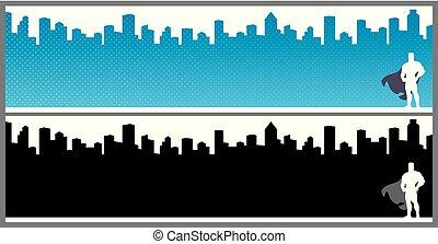 stad, banieren, superhero