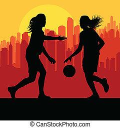 stad, basketboll, vektor, solnedgång, främre del, kvinnor