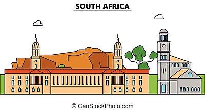 stad, bebyggelse, skissera, illustration, resa, linjär, afrika, silhuett, gränsmärke, horisont, syd, baner