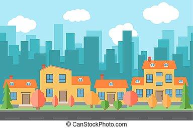 stad, bebyggelse, vektor, tecknad film, hus