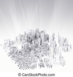 stad, beeld, 3d, render, scape