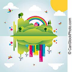 stad, begrepp, fjäder, illustration, grön, tid, lycklig
