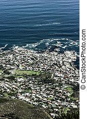 stad, berg, zuiden, aanzicht, tafel, (cape, stad, africa)