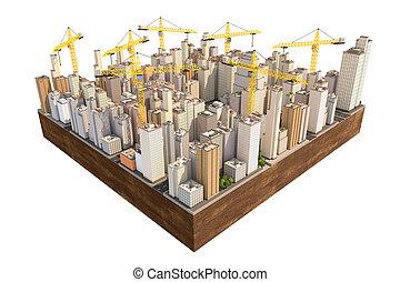 stad, bouwsector, cranes., velen, groot
