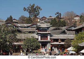 stad, bouwterrein, yunnan, historisch, erfenis, wereld,...
