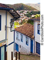 stad, brazilie, ouro, straten, historisch, preto