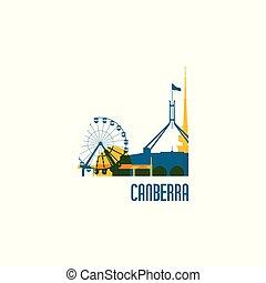stad, canberra, gebouwen., kleurrijke, emblem.