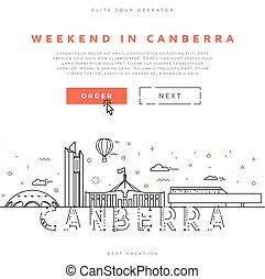 stad, canberra., tussenverdieping, hoofdstad, australia.,...