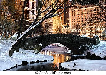 stad, centraal, schemering, panorama, park, york, nieuw,...
