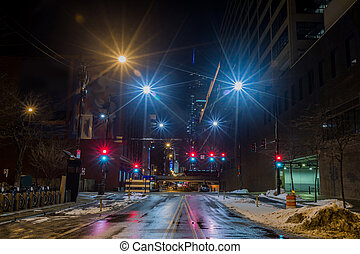 stad, chicago, downtown, straat, nacht, aanzicht