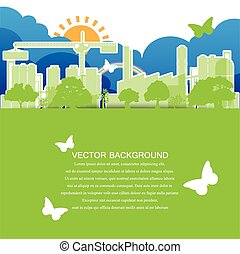 stad, concept, ecologie, groene