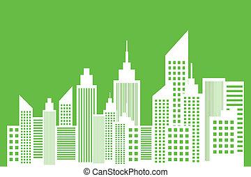 stad, concept, ecologie, moderne