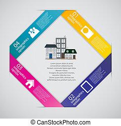 stad, concept, handel illustratie, infographic, vector, mal