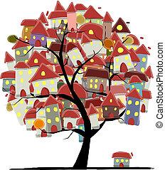 stad, concept, kunst, schets, boompje, ontwerp, jouw