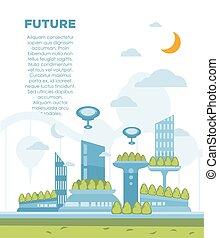 stad, concept., moderne, illustratie, vector, achtergrond, cityscape, toekomst, landscape