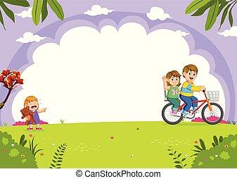 stad, cycling, vader, park, het schreeuwen, moeder, dochter