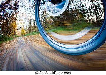 stad, cykel parkera, autumn/fall, ridande, söt, dag