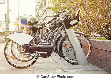 stad, cykel, uppe, gata, hacka, station, hyra