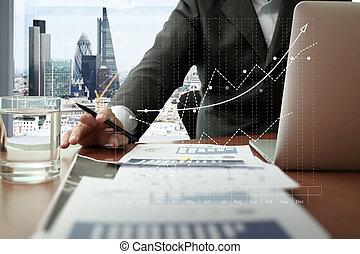 stad, documenten, kantoor, tablet, grafiek, zakentelefoon, werkende , diagram, achtergrond, digitale , londen, man, tafel, smart, aanzicht