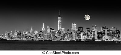 stad, downtown, skyline, york, nieuw, manhattan