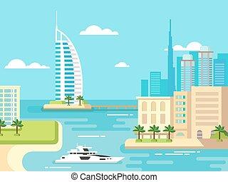 stad, dubai, strand, skyline