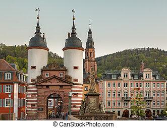 stad, duitsland, oud, heidelberg, poort