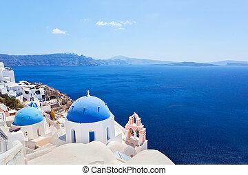 stad, egeïsch, eiland, oia, santorini, sea., caldera, greece...