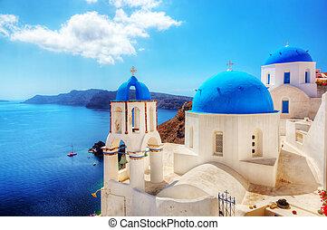 stad, egeïsch, eiland, oia, santorini, zee, greece.