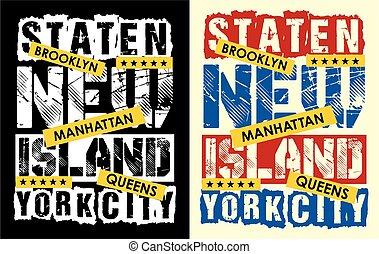 stad, eiland, ouderwetse , vctor., staten, york, nieuw